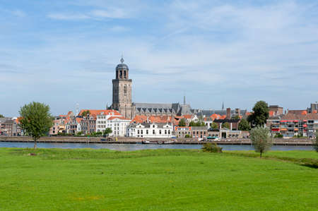 Skyline of Deventer, Overijssel, Netherlands as seen from across the IJssel river
