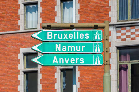 Directional Signs to Brussels, Namur and Antwerp in Liège Belgium