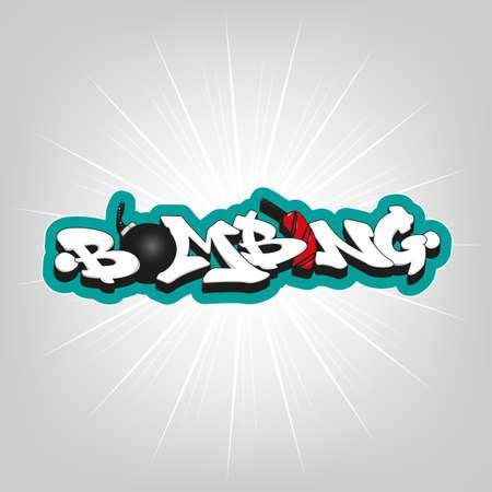 bombing: Bombing tekst graffiti. Vector typografie decoratie kunst Stock Illustratie