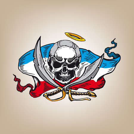 Skull Pirate with two swords on color banner Vector