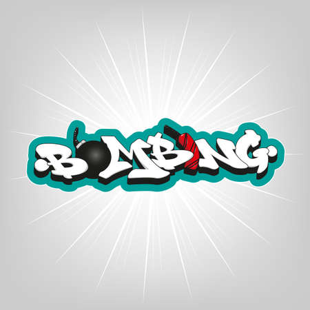 bombing: Bombing text graffiti. Vector typography decoration art