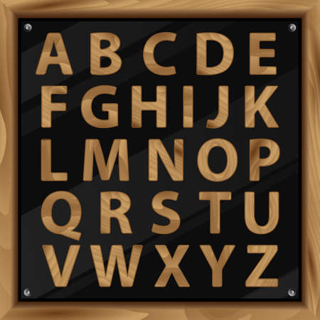 ready logos: Wooden Alphabet, vector set with all Letters, ready for your Text Message, Title or Logos Design