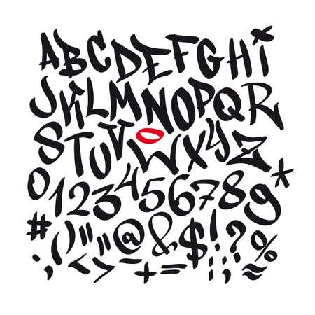 Hand Graffitiguß Alphabet geschrieben. Vektor-Schriftzug