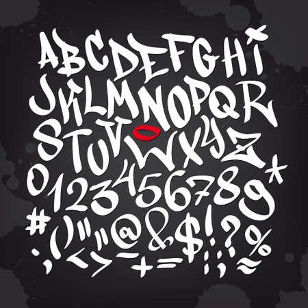 Main écrit graffiti alphabet de police. Vecteur lettrage