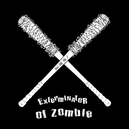 laceration: Vector symbol of exterminator zombie on black background