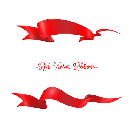 grand sale sticker: Red ribbons horizontal banners set flat isolated vector illustration