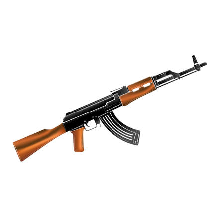 kalashnikov assault rifle color icon on white background vector