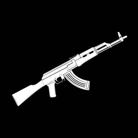 White vector kalashnikov assault rifle icon on black background