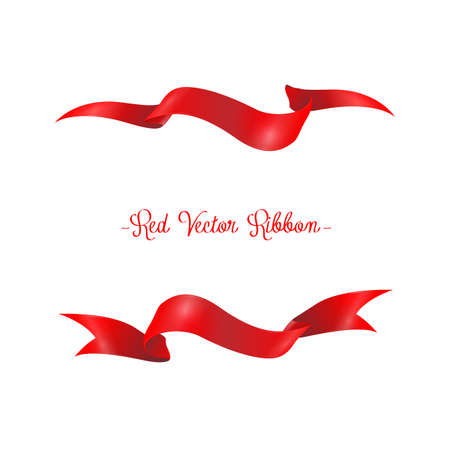 Red ribbons horizontal banners set.