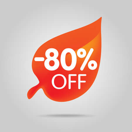 Special offer sale orange tag isolated vector illustration. Autumn discount offer label, symbol for advertising campaign in retail, sale promo marketing, autumn sale off discount sticke Stock Photo