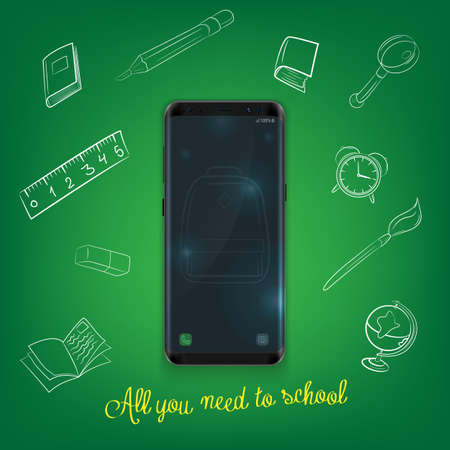 Back to school background with smartphone and school supplies set, vector illustration.