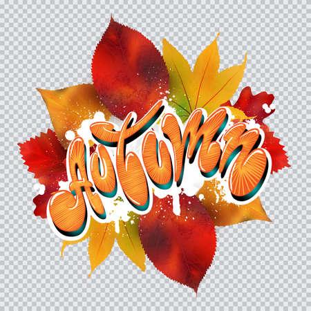Autumn text in graffiti style. Vector art illustration Illustration