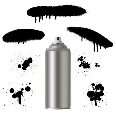 tin: Vector graffiti spray paint can with spray splash. Vector graffiti illustration. Illustration