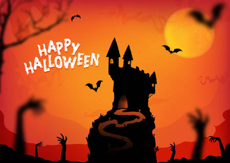 Happy halloween poster design with traditional symbols.