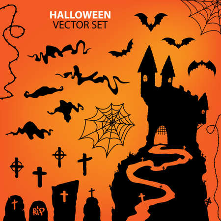 Vector collection of halloween icons. Vector illustration. Illustration
