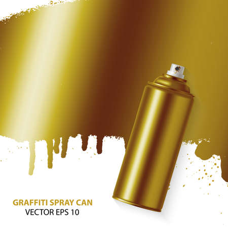 floating: Golden graffiti spray paint illustration.