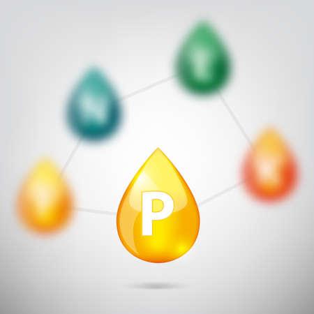 Colors drop of vitamins elements set vector illustration Illustration