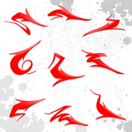 Set of red curved arrow icons. Illustration