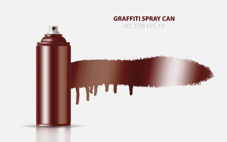 Copper Paint Aerosol Spray Metal 3D Bottle Can, Graffiti, Deodorant, Household Chemicals, Poison. Front View. Illustration Isolated On White Background. Mock Up Template For Your Design. Vector EPS10 Illustration