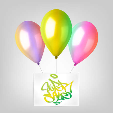 3d Realistic Colorful Balloon Set. Holiday illustration of flying glossy balloon set. Vector Illustration