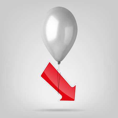 Flying balloon with red arrow. Vector illustration.