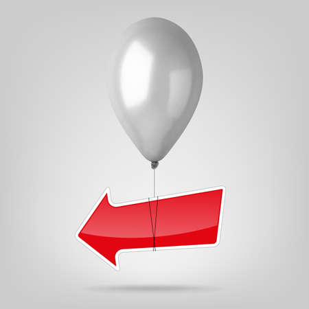 Flying balloon with red arrow. Vector iilustration
