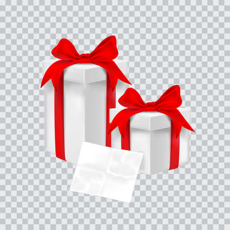 Gift box with red ribbon. Vector illustration. Illustration