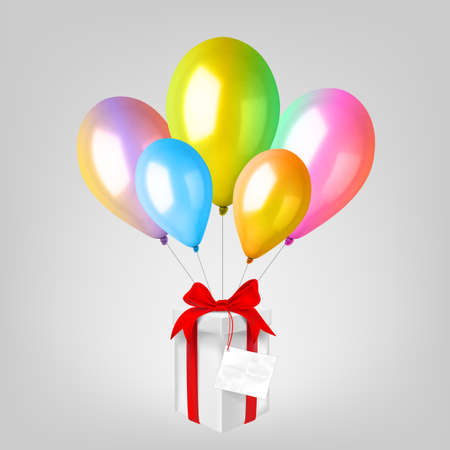 3d Realistic Colorful Balloon Set. Holiday illustration of flying glossy balloon with gift box.
