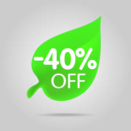 Special offer sale green tag isolated vector illustration. Spring discount offer label, symbol for advertising campaign in retail, sale promo marketing, spring sale off discount sticker