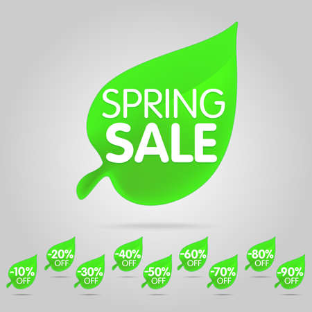 Special offer sale green tag isolated vector illustration. Spring discount offer label, symbol for advertising campaign in retail, sale promo marketing, spring sale off discount sticker. Spring sale label set. Illustration