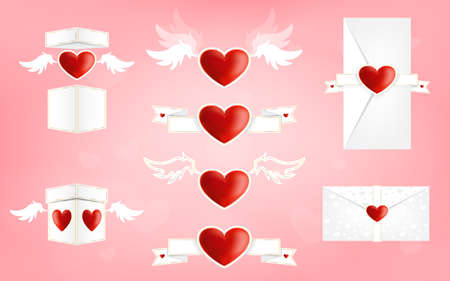 St. Valentine day elements icon vector set. Heart on wings. Love letters and boxes. Vector set.