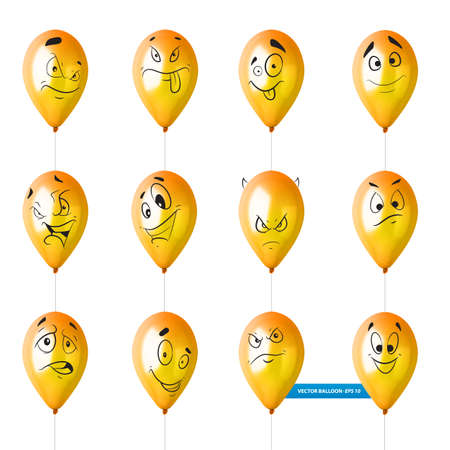 Set of cute lovely emoticon doodle cartoon face in childlike manga cartoon style. Illustration