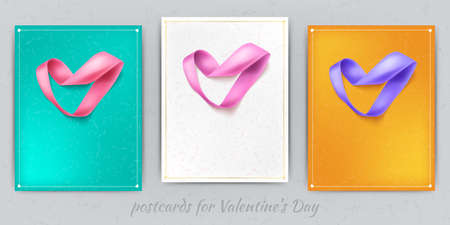 Heart from ribbon Valentine day vector background eps 10