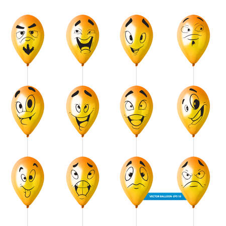 Set of cute lovely emoticon on yellow balloons. Vector illustration set.