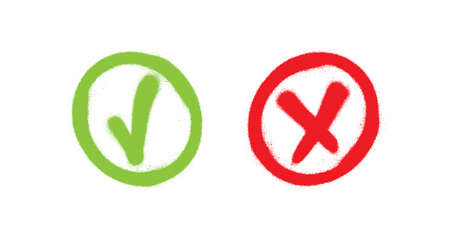 Tick and cross. Test. Choice. Graffiti vector signs. Approved tick and rejected cross. Voting button. Green and red check marks.  イラスト・ベクター素材