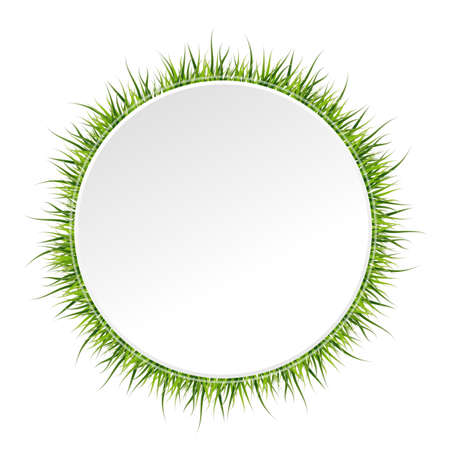 Spring banner with grass border around. Vector illustration on white background. Illustration