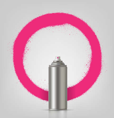 Aerosol spray on grey background with pink frame. Vector illustration.