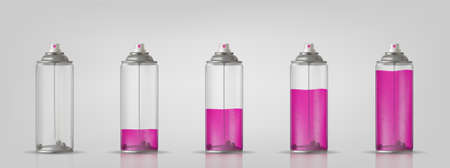 Transparent aerosol spray can with different paint loading. Vector illustration for your presentation.