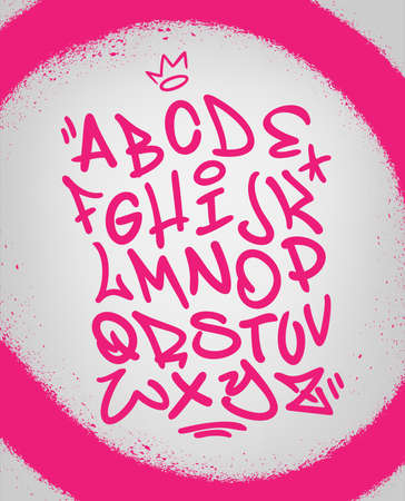 Handwritten graffiti font alphabet. Artistic hip hop typography collection. Custom vector calligraphy set