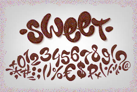 Chocolate hand drawn signs and numbers of sweet alphabet. Vector illustration set.