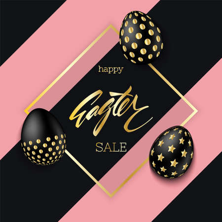 Easter eggs composition. Black eggs with golden gradient. Easter sale background vector. Illustration