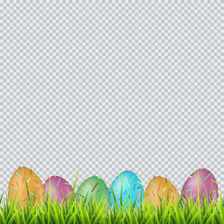Colorful easter eggs on a grass. On transparent background vector.