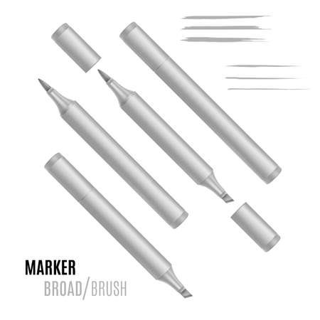 Realistic marker vector illustration, Double-sided marker.
