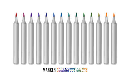 Set of bright markers on a white background. Courageous colors markers. Realistic vector illustration. EPS 10 Ilustração