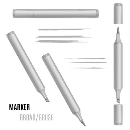 Marker vector illustration. Double-sided realistic marker.