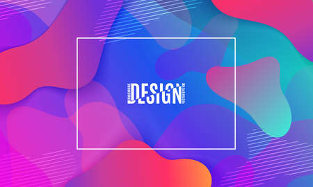 Fluid shapes composition. Colorful geometric background. Vector