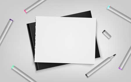 Sketchbook with markers and sheet. Template for your illustration. Vector illustration. Ilustração