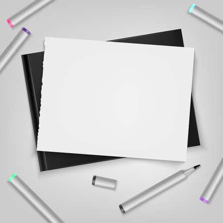 Markers with sketchbook. Template for your illustration. Vector illustration. Ilustração
