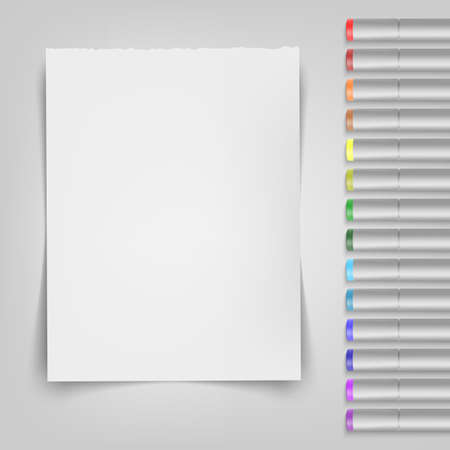 Blank sheet with markers. Template for your illustration. Vector illustration.