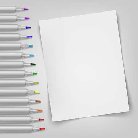 Blank sheet with markers template illustration. Ilustração